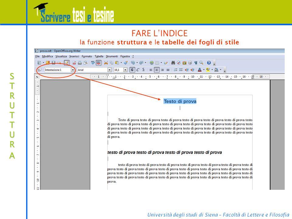 Università degli studi di Siena – Facoltà di Lettere e Filosofia STRUTTURASTRUTTURASTRUTTURASTRUTTURA FARE LINDICE la funzione struttura e le tabelle dei fogli di stile