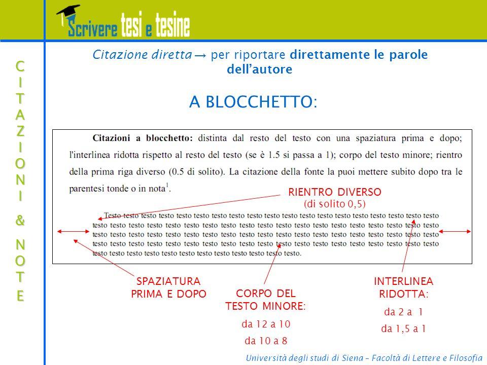 Università degli studi di Siena – Facoltà di Lettere e Filosofia CITAZIONICITAZIONI&&NOTENOTECITAZIONICITAZIONI&&NOTENOTE& A BLOCCHETTO: Citazione diretta per riportare direttamente le parole dellautore RIENTRO DIVERSO (di solito 0,5) INTERLINEA RIDOTTA: da 2 a 1 da 1,5 a 1 SPAZIATURA PRIMA E DOPO CORPO DEL TESTO MINORE: da 12 a 10 da 10 a 8