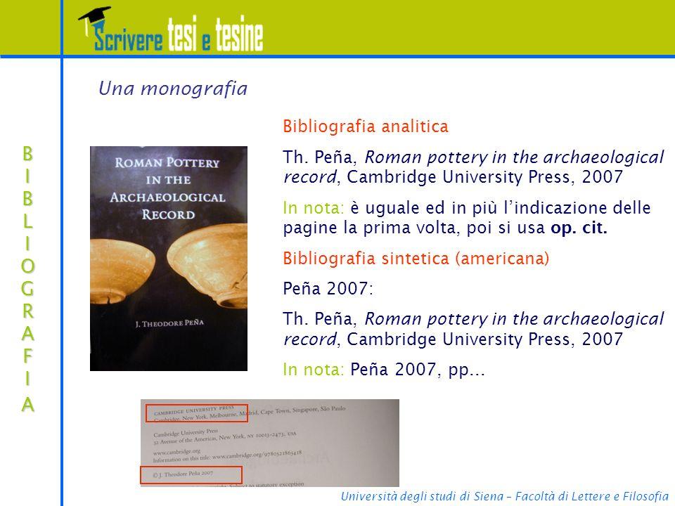 Università degli studi di Siena – Facoltà di Lettere e Filosofia BIBLIOGRAFIABIBLIOGRAFIABIBLIOGRAFIABIBLIOGRAFIA Bibliografia analitica Th.