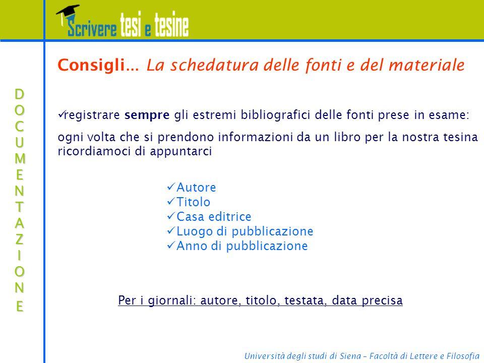 Università degli studi di Siena – Facoltà di Lettere e Filosofia Consigli...