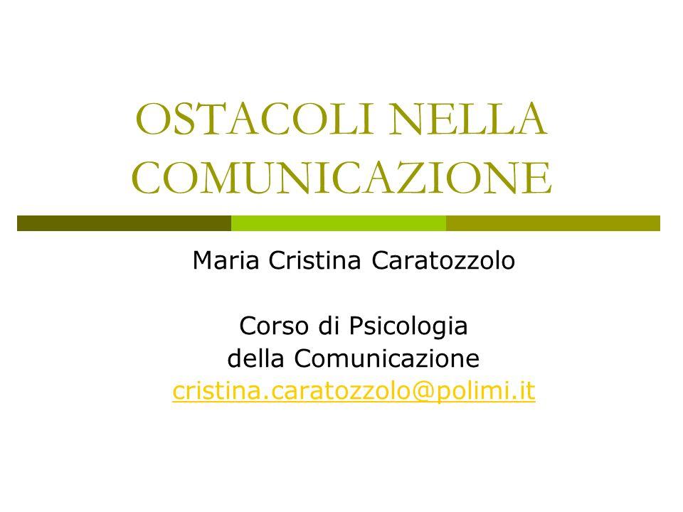 OSTACOLI NELLA COMUNICAZIONE Maria Cristina Caratozzolo Corso di Psicologia della Comunicazione cristina.caratozzolo@polimi.it