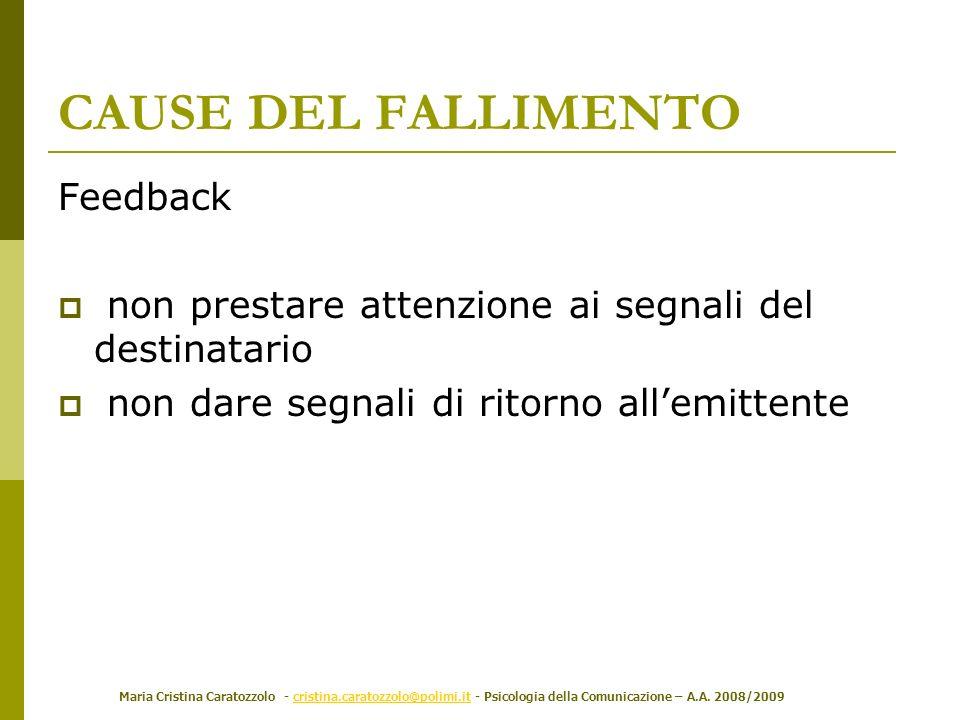 Maria Cristina Caratozzolo - cristina.caratozzolo@polimi.it - Psicologia della Comunicazione – A.A. 2008/2009cristina.caratozzolo@polimi.it Feedback n