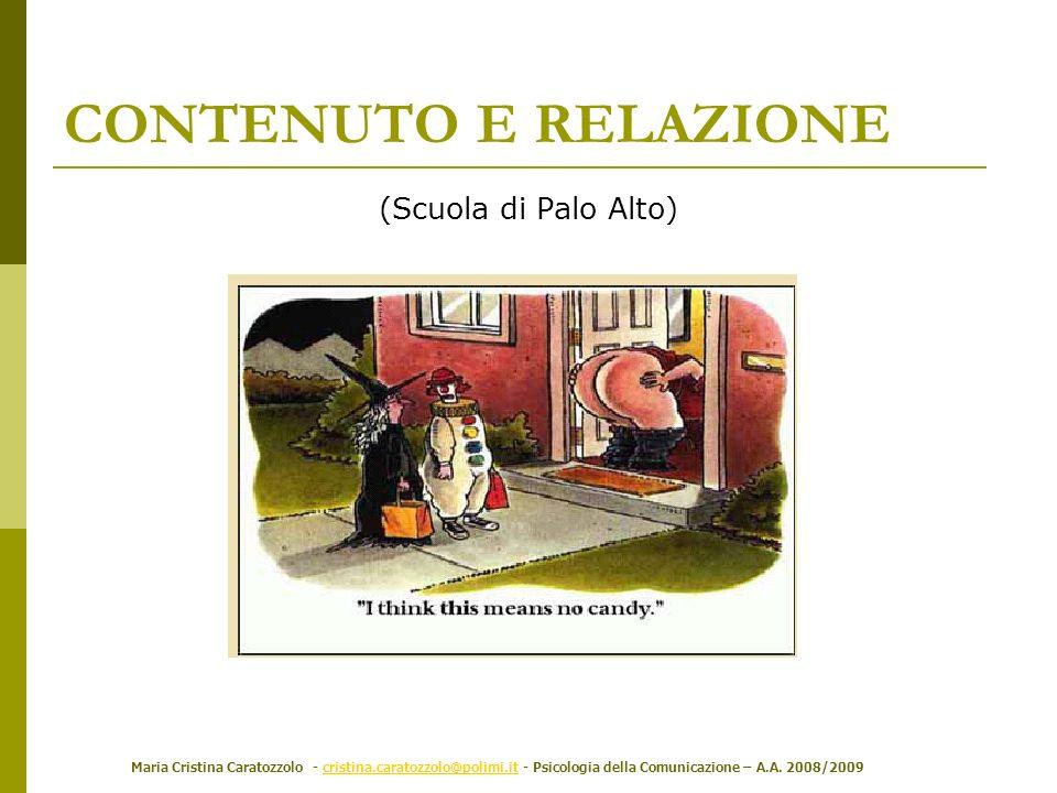 Maria Cristina Caratozzolo - cristina.caratozzolo@polimi.it - Psicologia della Comunicazione – A.A. 2008/2009cristina.caratozzolo@polimi.it (Scuola di