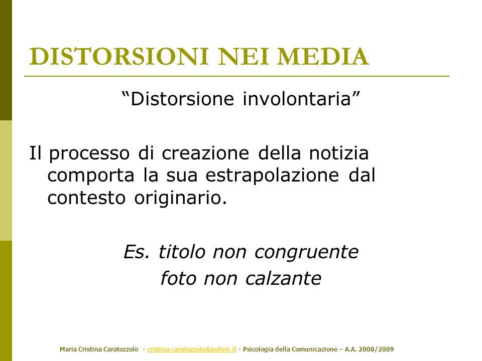 Maria Cristina Caratozzolo - cristina.caratozzolo@polimi.it - Psicologia della Comunicazione – A.A. 2008/2009cristina.caratozzolo@polimi.it DISTORSION