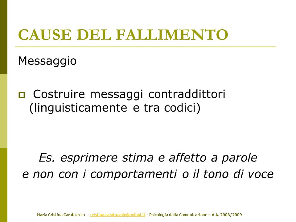 Maria Cristina Caratozzolo - cristina.caratozzolo@polimi.it - Psicologia della Comunicazione – A.A. 2008/2009cristina.caratozzolo@polimi.it Messaggio