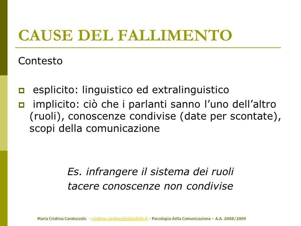 Maria Cristina Caratozzolo - cristina.caratozzolo@polimi.it - Psicologia della Comunicazione – A.A. 2008/2009cristina.caratozzolo@polimi.it Contesto e