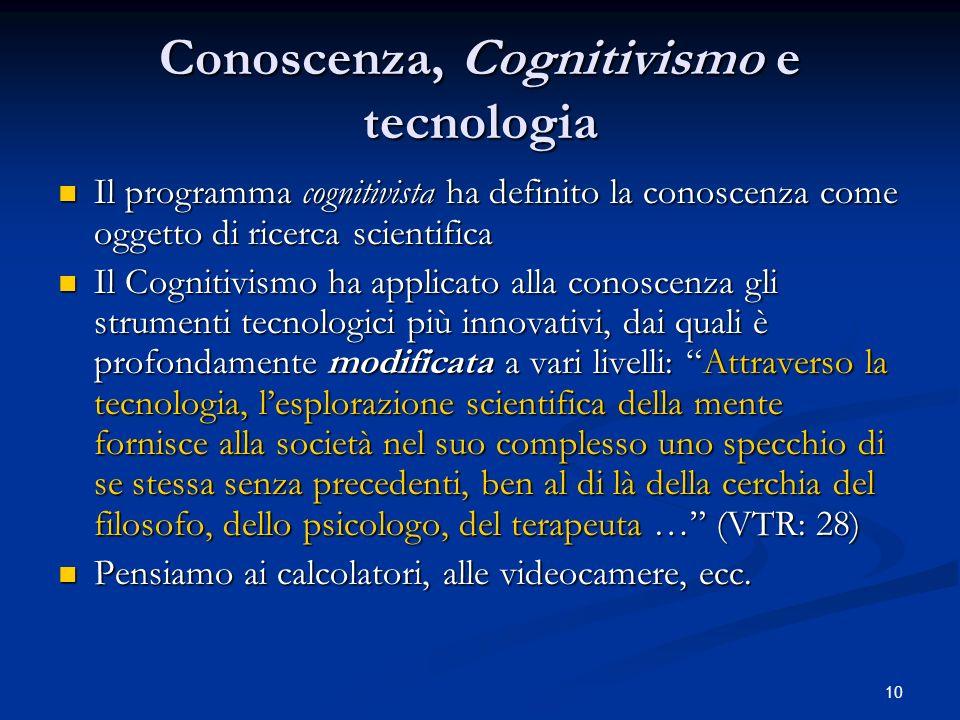 10 Conoscenza, Cognitivismo e tecnologia Il programma cognitivista ha definito la conoscenza come oggetto di ricerca scientifica Il programma cognitiv