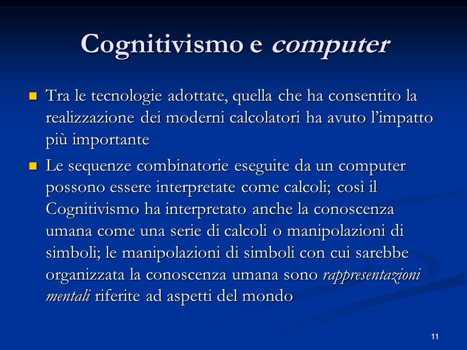11 Cognitivismo e computer Tra le tecnologie adottate, quella che ha consentito la realizzazione dei moderni calcolatori ha avuto limpatto più importa