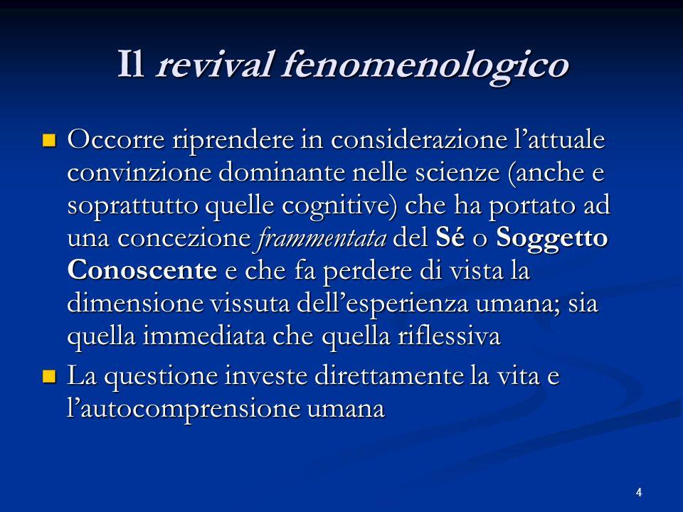 4 Il revival fenomenologico Occorre riprendere in considerazione lattuale convinzione dominante nelle scienze (anche e soprattutto quelle cognitive) c