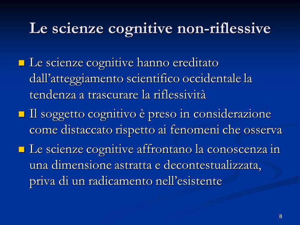 9 Le scienze cognitive come scienze occidentali Questo atteggiamento occidentale è confermato dalla identità delle discipline che afferiscono allarea delle scienze cognitive (1991): Intelligenza Artificiale; Linguistica; Neuroscienze; Psicologia; (Antropologia); Filosofia della Mente Questo atteggiamento occidentale è confermato dalla identità delle discipline che afferiscono allarea delle scienze cognitive (1991): Intelligenza Artificiale; Linguistica; Neuroscienze; Psicologia; (Antropologia); Filosofia della Mente Queste discipline si rivolgono allo studio della conoscenza, come molti filosofi occidentali hanno sempre fatto; ma della conoscenza hanno anche fatto un oggetto di studio scientifico ben al di là dellinteresse di carattere epistemologico Queste discipline si rivolgono allo studio della conoscenza, come molti filosofi occidentali hanno sempre fatto; ma della conoscenza hanno anche fatto un oggetto di studio scientifico ben al di là dellinteresse di carattere epistemologico