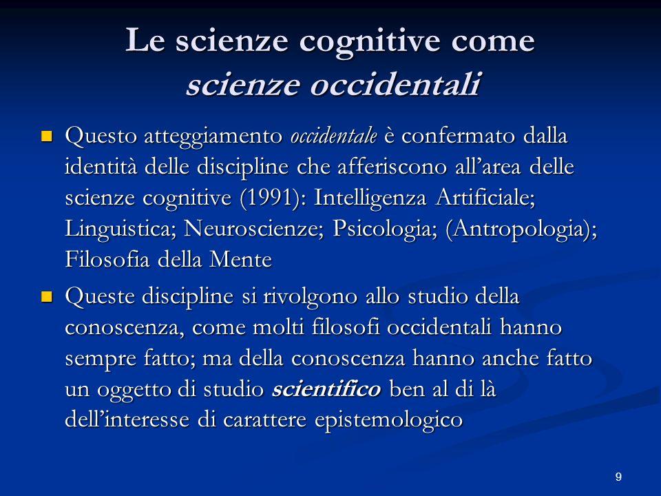 9 Le scienze cognitive come scienze occidentali Questo atteggiamento occidentale è confermato dalla identità delle discipline che afferiscono allarea