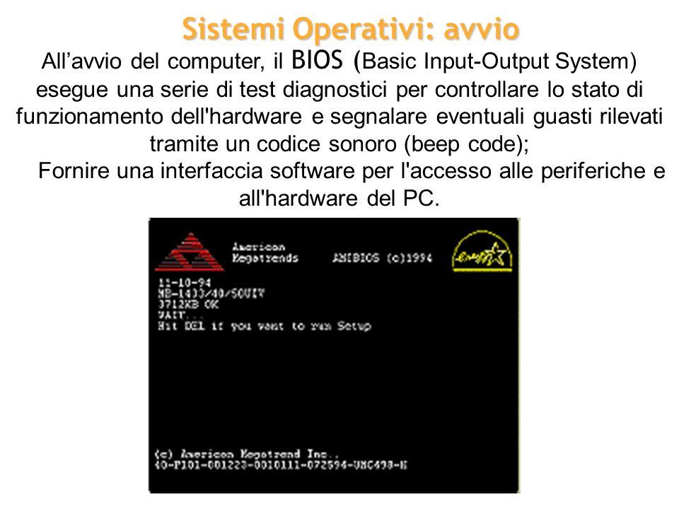 Allavvio del computer, il BIOS ( Basic Input-Output System) esegue una serie di test diagnostici per controllare lo stato di funzionamento dell'hardwa