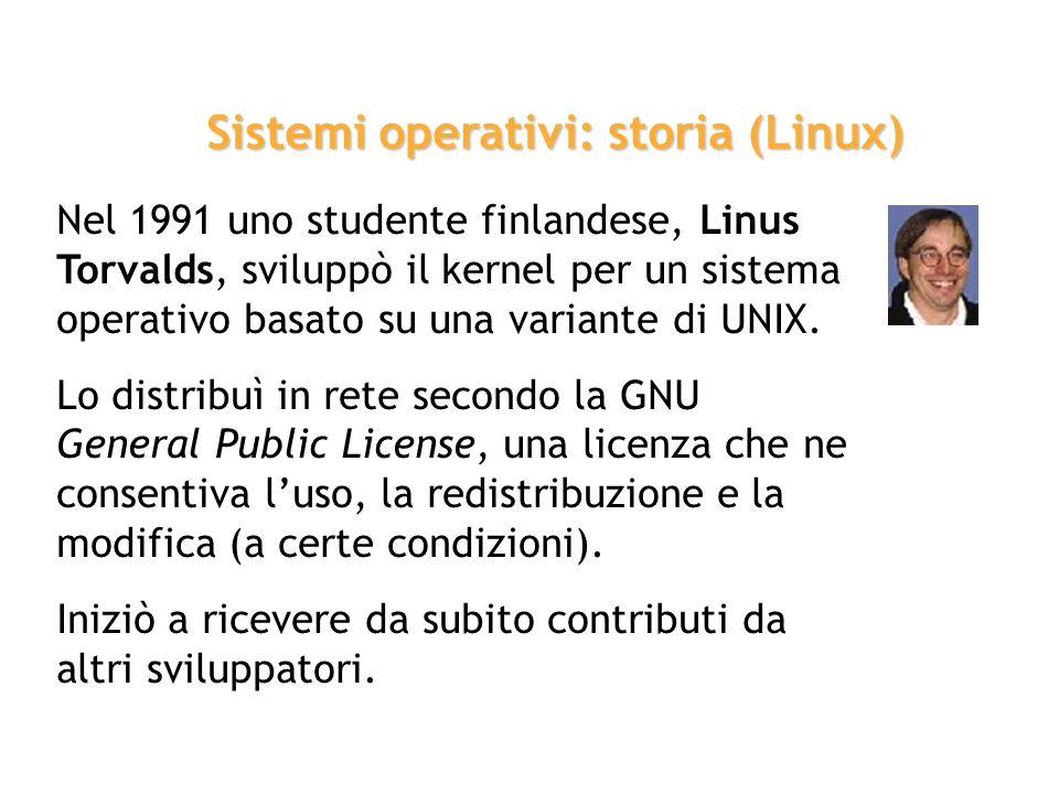 Nel 1991 uno studente finlandese, Linus Torvalds, sviluppò il kernel per un sistema operativo basato su una variante di UNIX. Lo distribuì in rete sec