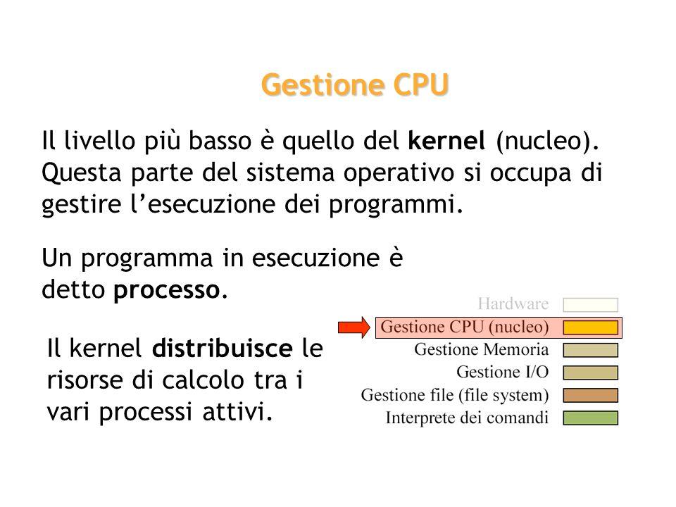 Il livello più basso è quello del kernel (nucleo). Questa parte del sistema operativo si occupa di gestire lesecuzione dei programmi. Gestione CPU Un