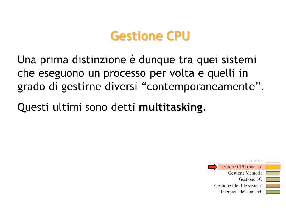 Una prima distinzione è dunque tra quei sistemi che eseguono un processo per volta e quelli in grado di gestirne diversi contemporaneamente. multitask