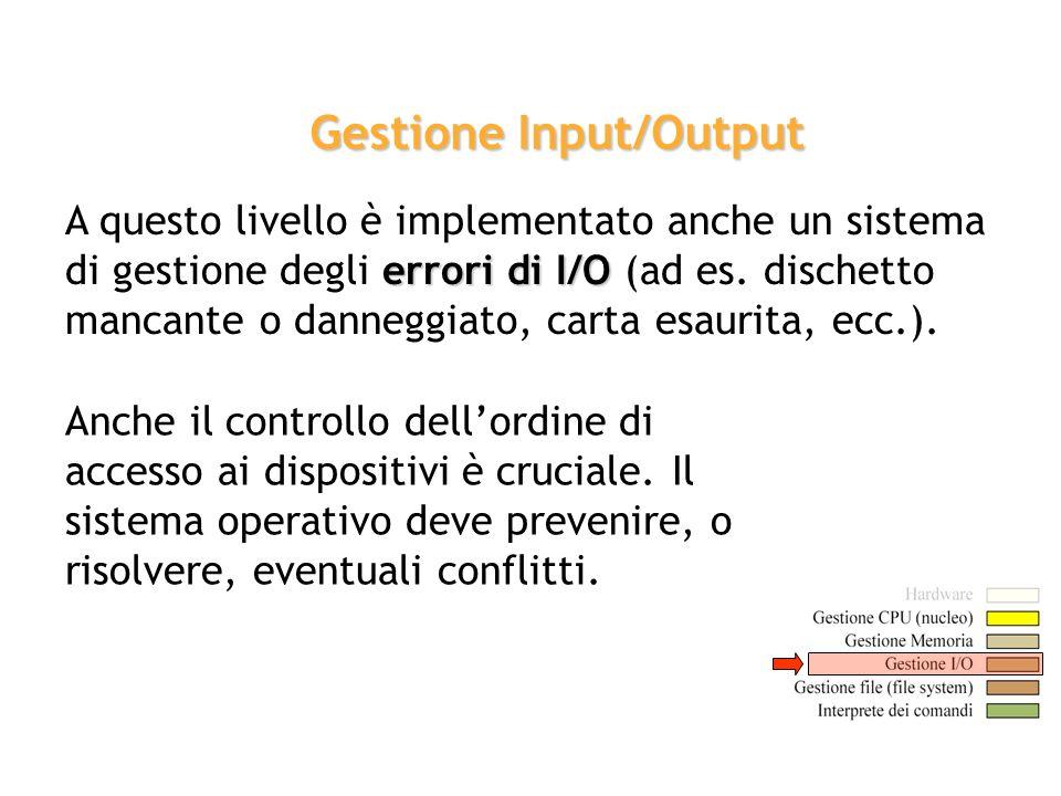 errori di I/O A questo livello è implementato anche un sistema di gestione degli errori di I/O (ad es. dischetto mancante o danneggiato, carta esaurit