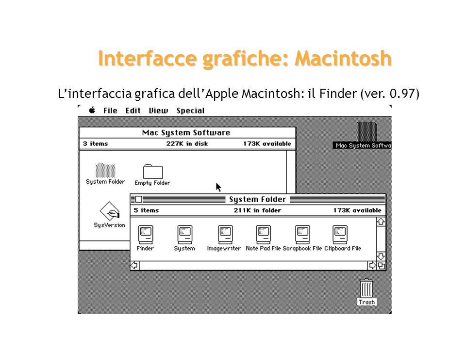 Linterfaccia grafica dellApple Macintosh: il Finder (ver. 0.97) Interfacce grafiche: Macintosh