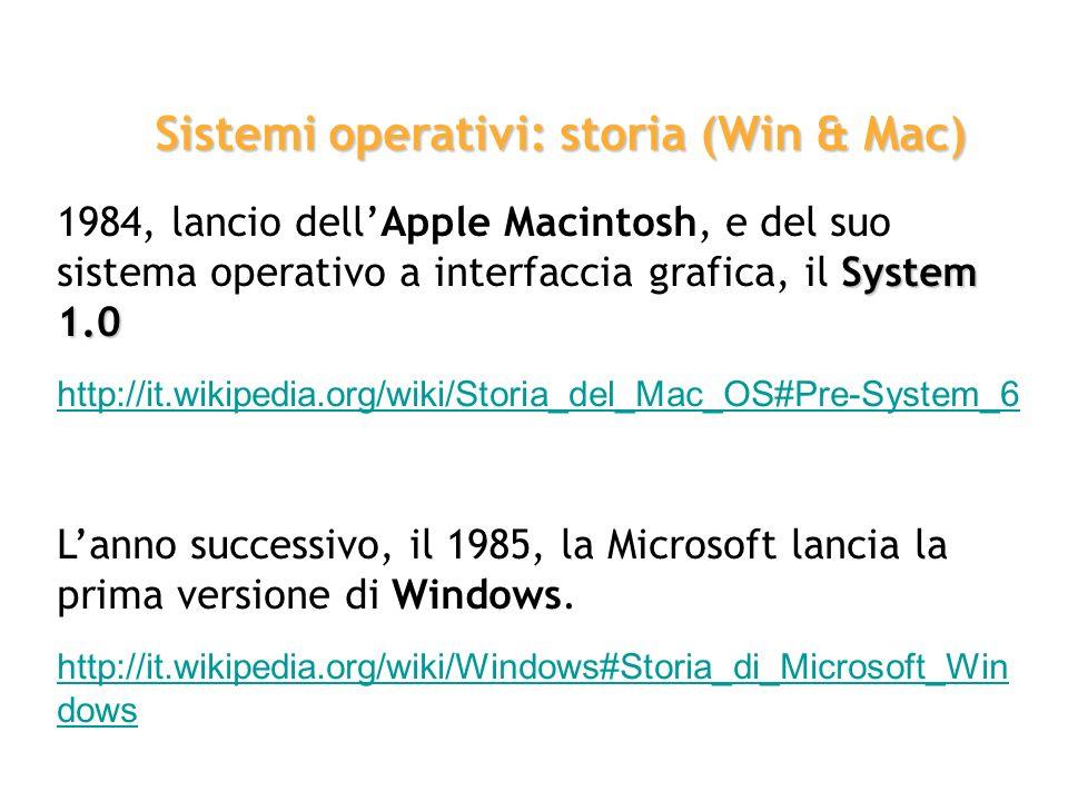 System 1.0 1984, lancio dellApple Macintosh, e del suo sistema operativo a interfaccia grafica, il System 1.0 http://it.wikipedia.org/wiki/Storia_del_
