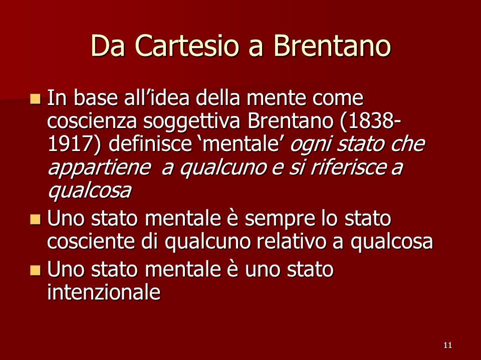 11 Da Cartesio a Brentano In base allidea della mente come coscienza soggettiva Brentano (1838- 1917) definisce mentale ogni stato che appartiene a qu