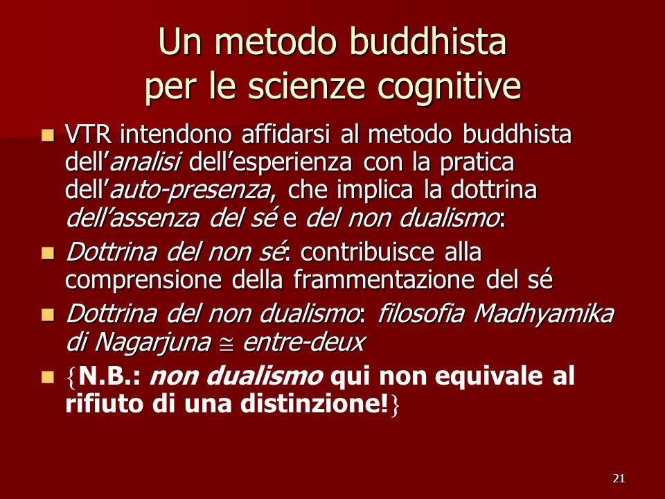 21 Un metodo buddhista per le scienze cognitive VTR intendono affidarsi al metodo buddhista dellanalisi dellesperienza con la pratica dellauto-presenz