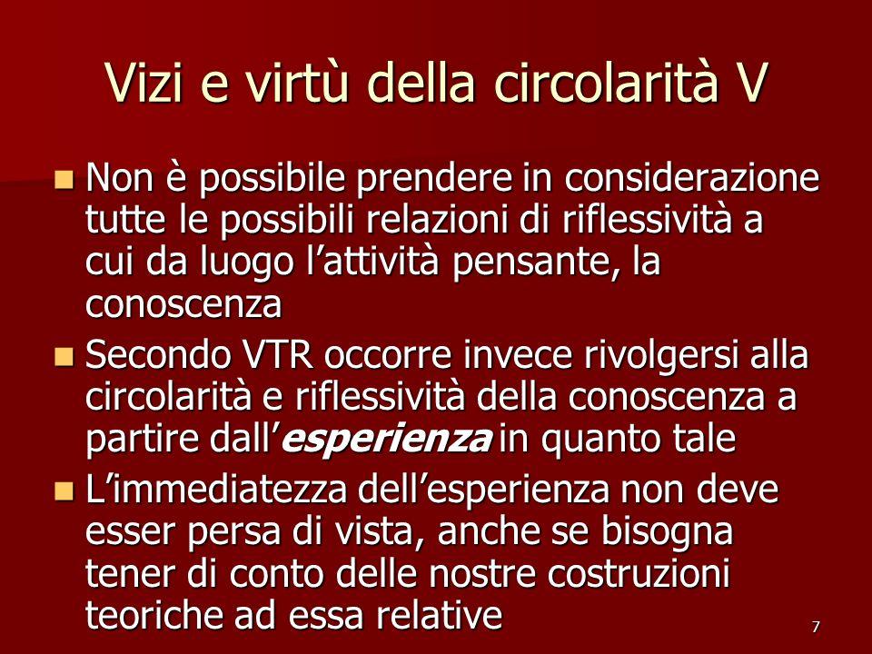 7 Vizi e virtù della circolarità V Non è possibile prendere in considerazione tutte le possibili relazioni di riflessività a cui da luogo lattività pe