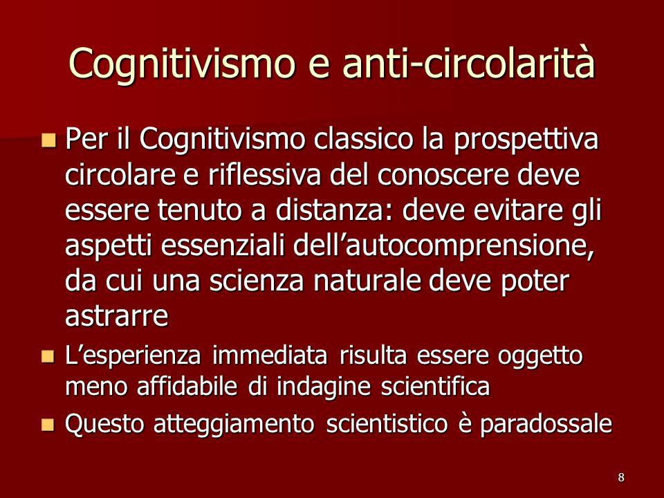 8 Cognitivismo e anti-circolarità Per il Cognitivismo classico la prospettiva circolare e riflessiva del conoscere deve essere tenuto a distanza: deve