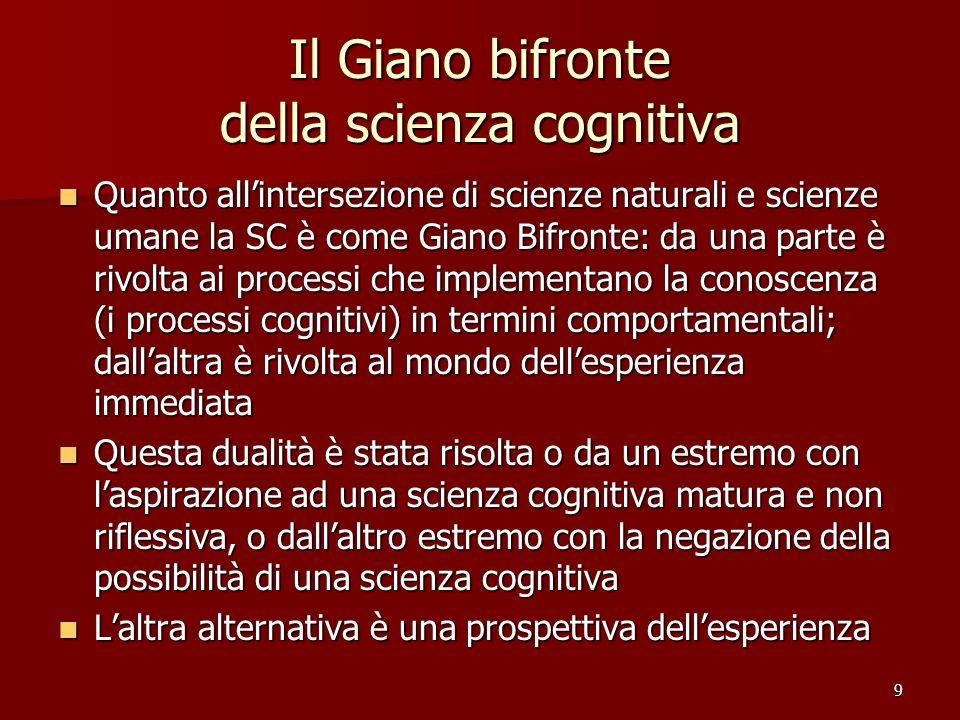 9 Il Giano bifronte della scienza cognitiva Quanto allintersezione di scienze naturali e scienze umane la SC è come Giano Bifronte: da una parte è riv