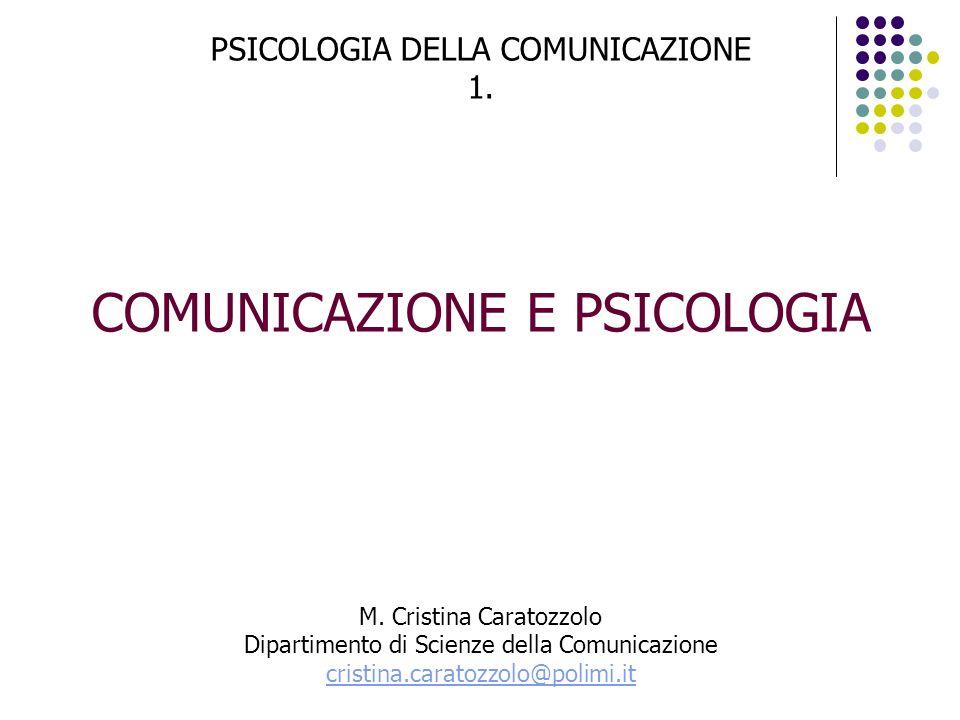 PSICOLOGIA DELLA COMUNICAZIONE 1.COMUNICAZIONE E PSICOLOGIA M.