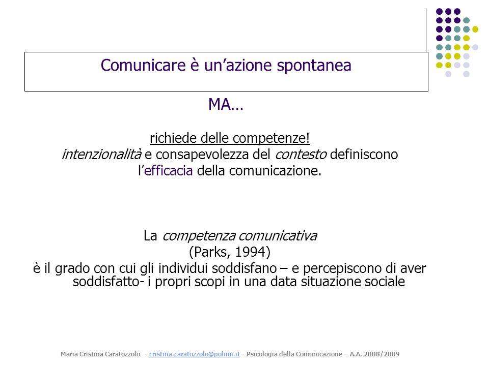 Comunicare è unazione spontanea MA… richiede delle competenze.