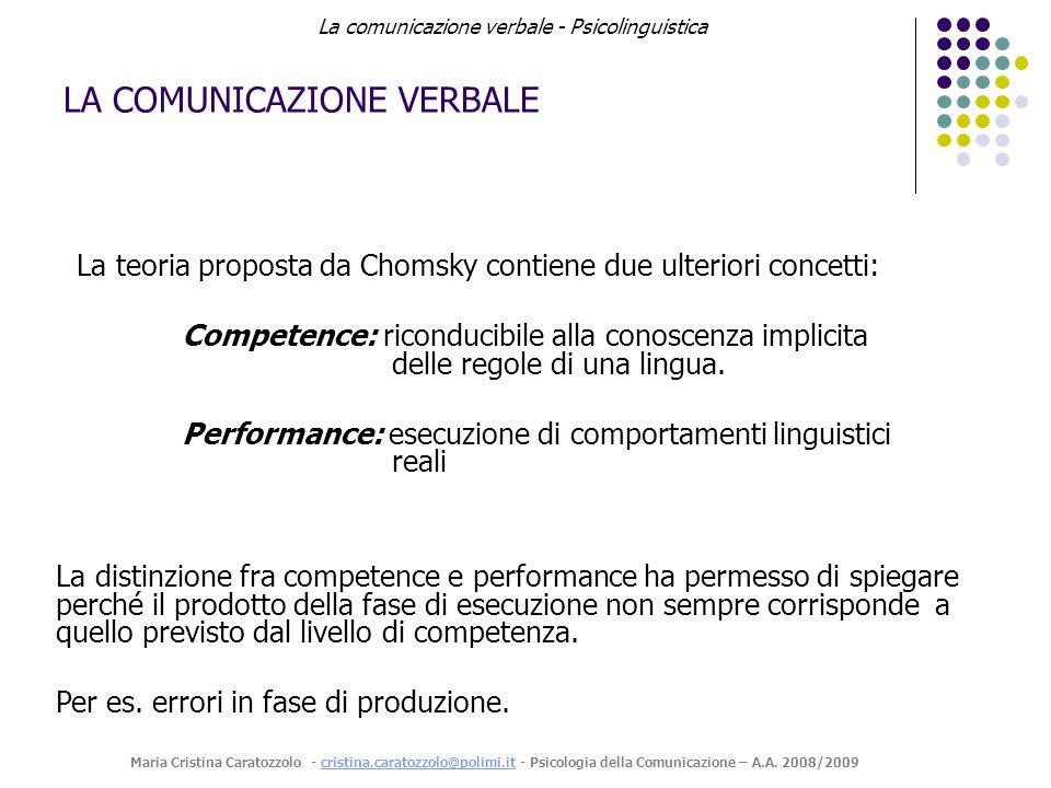 LA COMUNICAZIONE VERBALE La teoria proposta da Chomsky contiene due ulteriori concetti: Competence: riconducibile alla conoscenza implicita delle regole di una lingua.