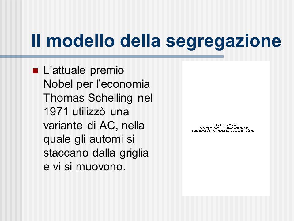 Il modello della segregazione Lattuale premio Nobel per leconomia Thomas Schelling nel 1971 utilizzò una variante di AC, nella quale gli automi si staccano dalla griglia e vi si muovono.