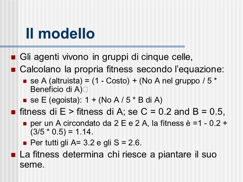 Il modello Gli agenti vivono in gruppi di cinque celle, Calcolano la propria fitness secondo lequazione: se A (altruista) = (1 - Costo) + (No A nel gruppo / 5 * Beneficio di A) se E (egoista): 1 + (No A / 5 * B di A) fitness di E > fitness di A; se C = 0.2 and B = 0.5, per un A circondato da 2 E e 2 A, la fitness è =1 - 0.2 + (3/5 * 0.5) = 1.14.