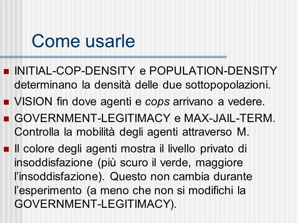 Come usarle INITIAL-COP-DENSITY e POPULATION-DENSITY determinano la densità delle due sottopopolazioni.