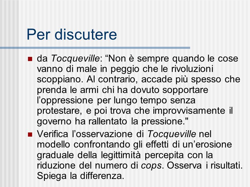 Per discutere da Tocqueville: Non è sempre quando le cose vanno di male in peggio che le rivoluzioni scoppiano.