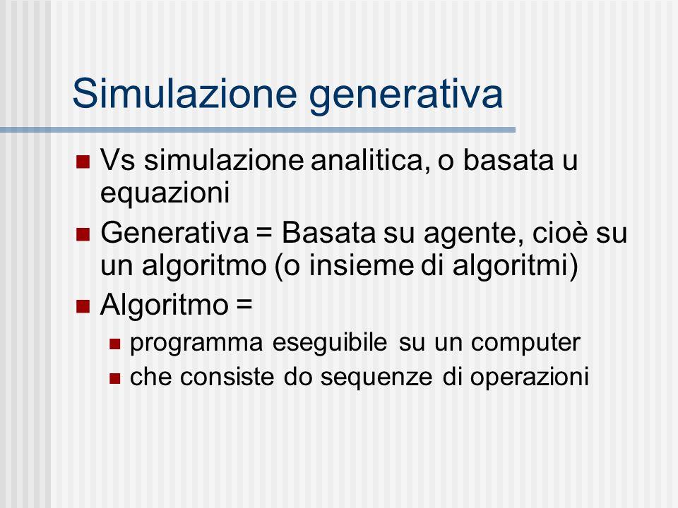 Simulazione generativa Vs simulazione analitica, o basata u equazioni Generativa = Basata su agente, cioè su un algoritmo (o insieme di algoritmi) Algoritmo = programma eseguibile su un computer che consiste do sequenze di operazioni