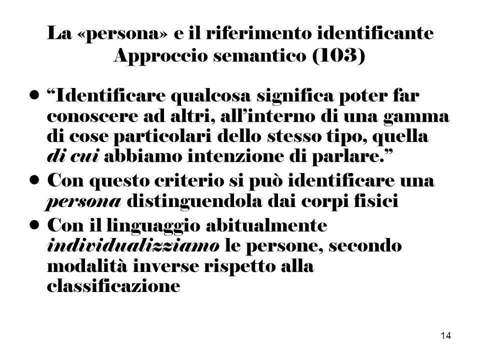 14 La «persona» e il riferimento identificante Approccio semantico (103) Identificare qualcosa significa poter far conoscere ad altri, allinterno di una gamma di cose particolari dello stesso tipo, quella di cui abbiamo intenzione di parlare.