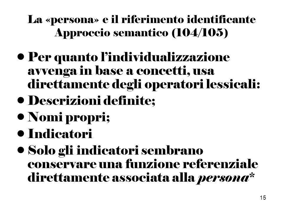 15 La «persona» e il riferimento identificante Approccio semantico (104/105) Per quanto lindividualizzazione avvenga in base a concetti, usa direttamente degli operatori lessicali: Descrizioni definite; Nomi propri; Indicatori Solo gli indicatori sembrano conservare una funzione referenziale direttamente associata alla persona*