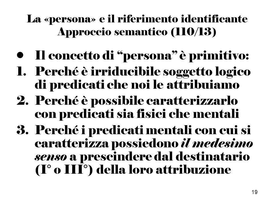 19 La «persona» e il riferimento identificante Approccio semantico (110/13) Il concetto di persona è primitivo: 1.Perché è irriducibile soggetto logico di predicati che noi le attribuiamo 2.Perché è possibile caratterizzarlo con predicati sia fisici che mentali 3.Perché i predicati mentali con cui si caratterizza possiedono il medesimo senso a prescindere dal destinatario (I° o III°) della loro attribuzione