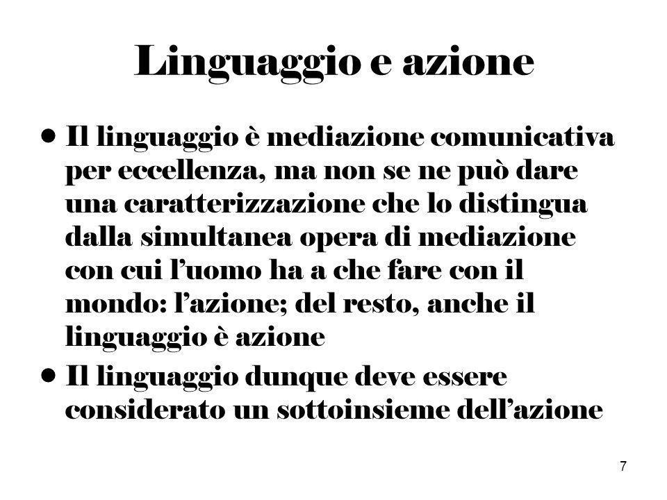 7 Linguaggio e azione Il linguaggio è mediazione comunicativa per eccellenza, ma non se ne può dare una caratterizzazione che lo distingua dalla simultanea opera di mediazione con cui luomo ha a che fare con il mondo: lazione; del resto, anche il linguaggio è azione Il linguaggio dunque deve essere considerato un sottoinsieme dellazione