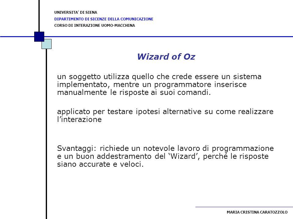 UNIVERSITA DI SIENA DIPARTIMENTO DI SICENZE DELLA COMUNICAZIONE CORSO DI INTERAZIONE UOMO-MACCHINA MARIA CRISTINA CARATOZZOLO Wizard of Oz un soggetto