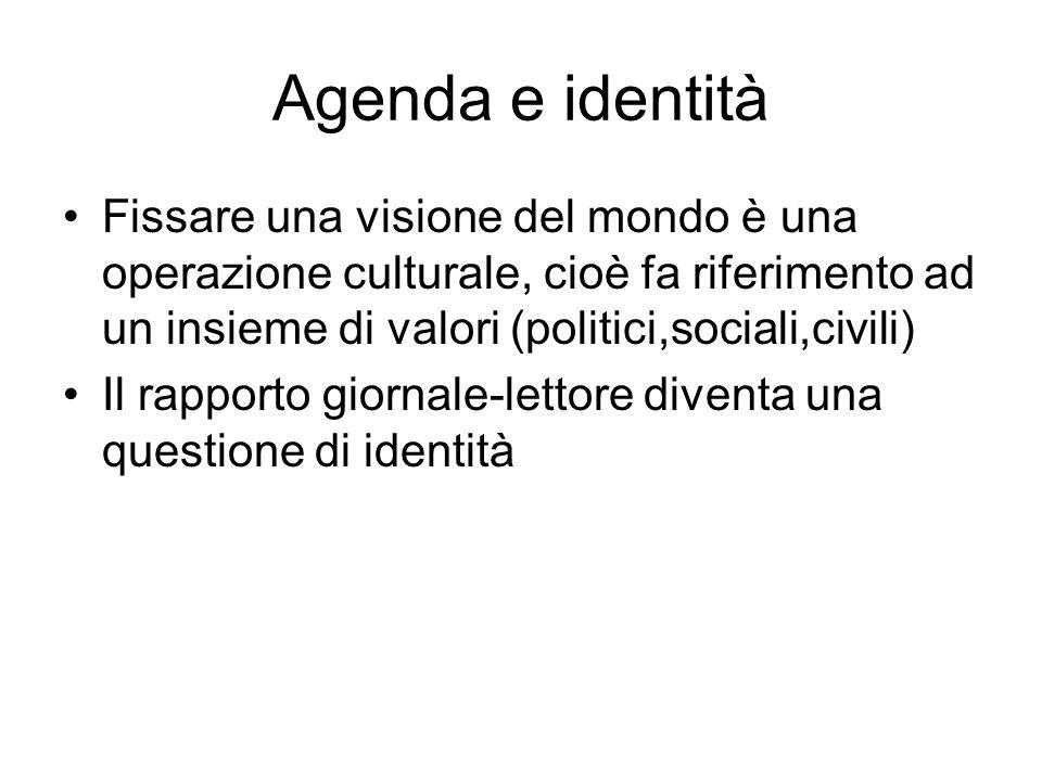 Agenda e identità Fissare una visione del mondo è una operazione culturale, cioè fa riferimento ad un insieme di valori (politici,sociali,civili) Il rapporto giornale-lettore diventa una questione di identità