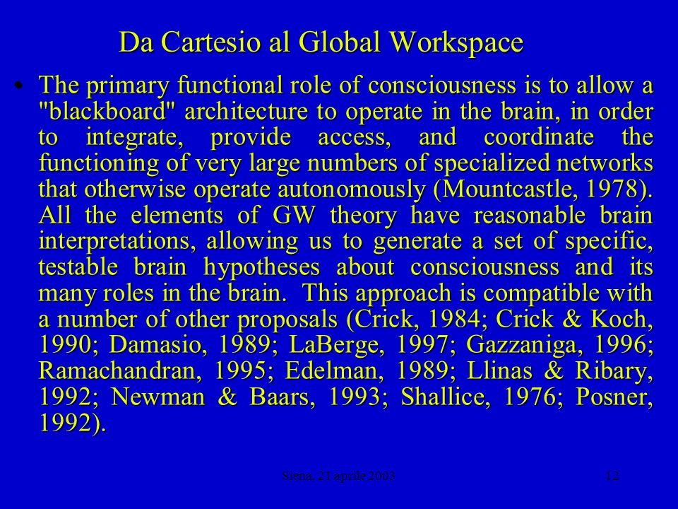Siena, 21 aprile 200311 Da Cartesio al Global Workspace Global Workspace theory is a simple cognitive architecture that has been developed to account qualitatively for a large set of matched pairs of conscious and unconscious processes (Baars, 1983, 1988, 1993, 1997).Global Workspace theory is a simple cognitive architecture that has been developed to account qualitatively for a large set of matched pairs of conscious and unconscious processes (Baars, 1983, 1988, 1993, 1997).
