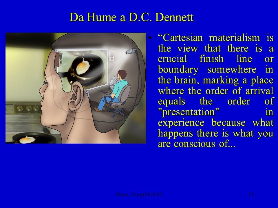 Siena, 21 aprile 200314 Da Hume a D.C.
