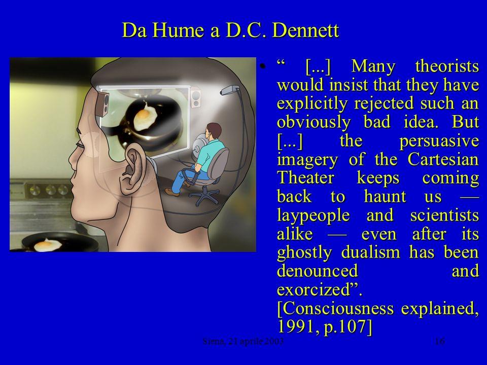 Siena, 21 aprile 200315 Da Hume a D.C.