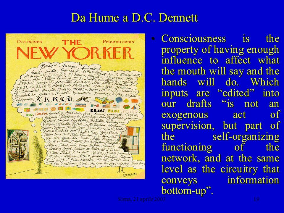 Siena, 21 aprile 200318 Da Hume a D.C.