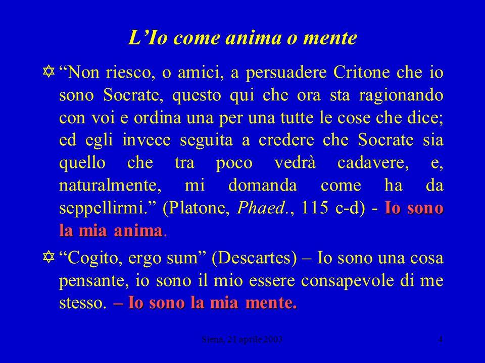 Siena, 21 aprile 20033 Che cosa è lio.