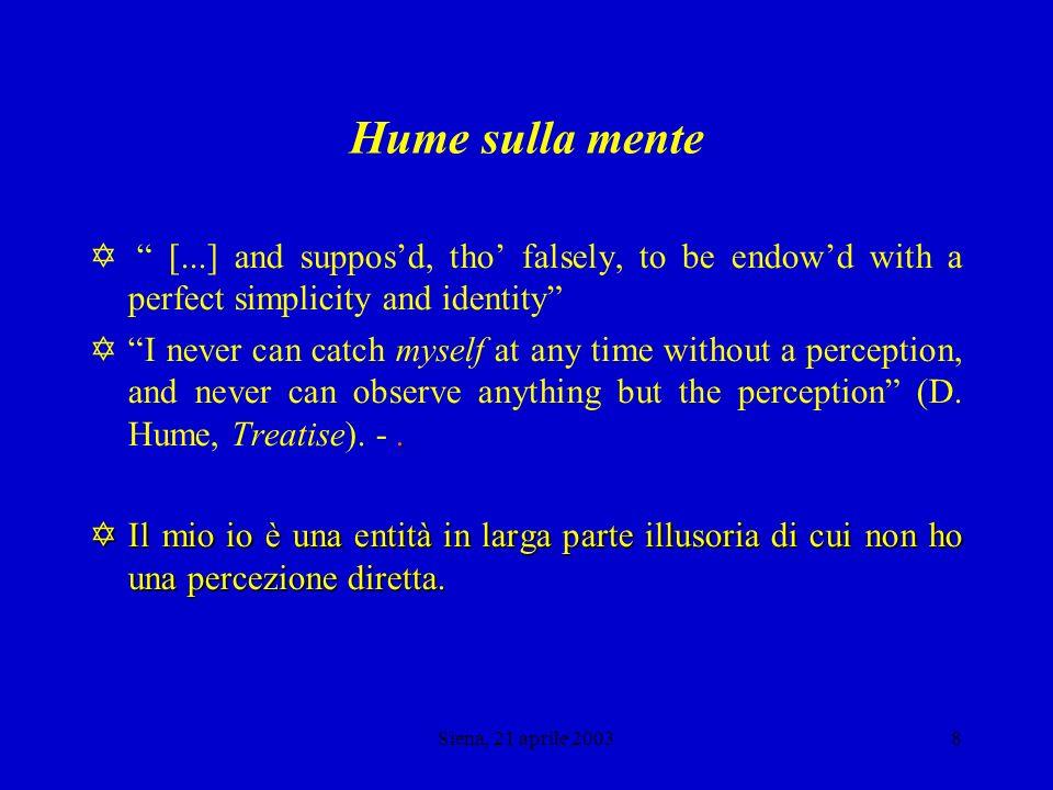 Siena, 21 aprile 20037 Spinoza e Hume sulla mente Voluntas, et intellectus nihil praeter ipsas singulares volitiones, et ideas sunt (Spinoza, Ethica, II, 49, Corollarium, Demonstratio].