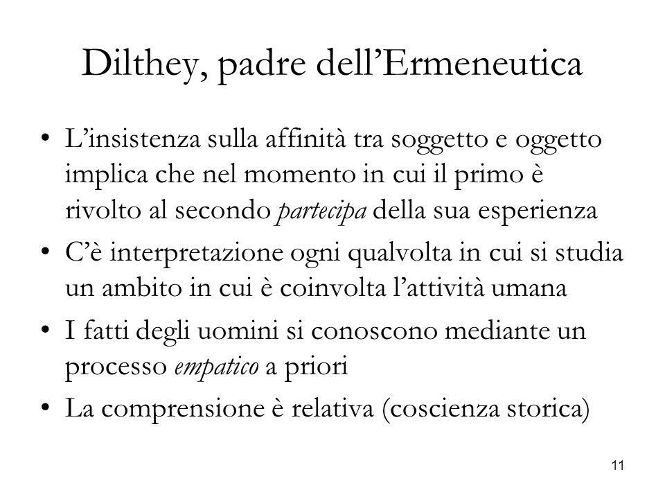11 Dilthey, padre dellErmeneutica Linsistenza sulla affinità tra soggetto e oggetto implica che nel momento in cui il primo è rivolto al secondo parte