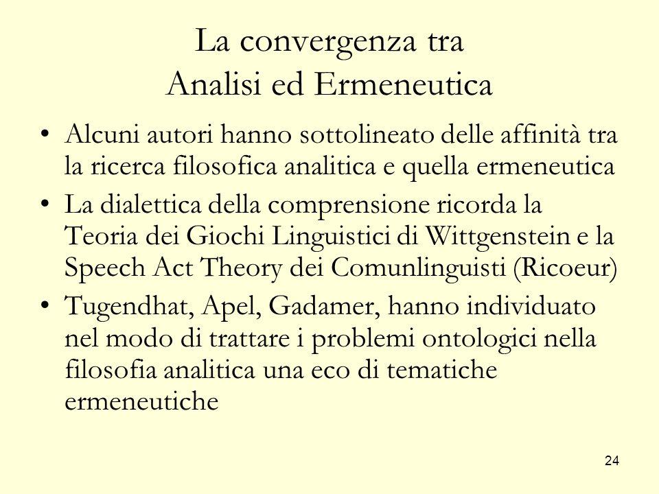 24 La convergenza tra Analisi ed Ermeneutica Alcuni autori hanno sottolineato delle affinità tra la ricerca filosofica analitica e quella ermeneutica