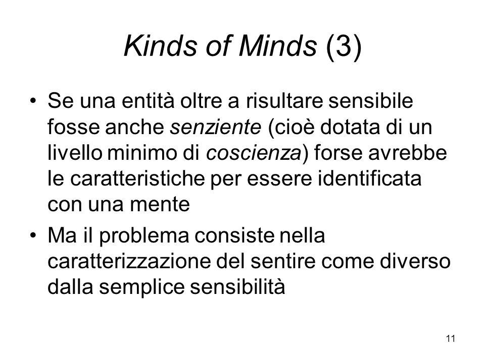 11 Kinds of Minds (3) Se una entità oltre a risultare sensibile fosse anche senziente (cioè dotata di un livello minimo di coscienza) forse avrebbe le caratteristiche per essere identificata con una mente Ma il problema consiste nella caratterizzazione del sentire come diverso dalla semplice sensibilità